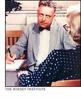 Alfred Kinsey interviewing woman